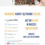 plakt reklamujący kursy językowe online z fotografią książek w smartfonie