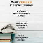 Plakat zachecający do zamawiania książek i filmów przez telefon